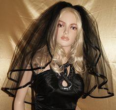 Wedding Veil Gothic Black Red Purple Pink Veil by GothiXXbyElena, $30.99