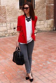 #blazer #rojo #outfit