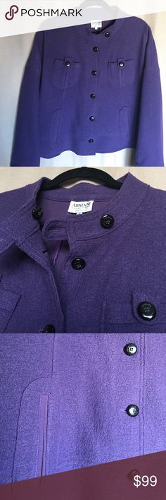 "ARMANI COLLEZIONI  Made in Italy Jacket Warm and trendy, gorgeous purple , wool , authentic jacket by Armani (this isn't vintage).  Lined with cotton lining. Like new condition! Dry Cleaned !!!   Length 24"". , Bust 44"". Size 12 but it would be good to size 14 too . Armani Collezioni Jackets & Coats"