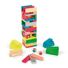 Dans ce jeu d'équilibre, les enfants vont monter la tour en plaçant les blocs par rangées de 3 et en mélangeant les couleurs. Puis, chacun leur tour, en fonction de la couleur indiquée par le dé, les enfants retireront une pièce et viendront la positionner au sommet. Le joueur qui fait tomber la tour perd la partie.