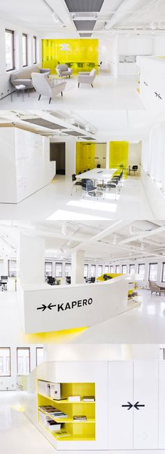 Yellow Room Interior Inspiration: Rooms For Your Viewing Pleasure - Yellow Room Interior Inspiration: Rooms For Your Viewing Pleasure All white with yellow accents to fit our logo color. Maybe, as long as our logo colors stay the same over time. Office Space Design, Modern Office Design, Home Office Space, Office Workspace, Office Interior Design, Room Interior, Workplace Design, Office Designs, Office Spaces