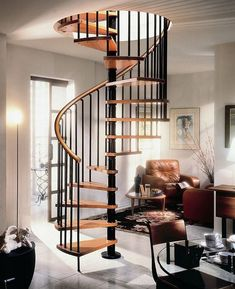 Gamia Deluxe Black Spiral Staircase 1200mm dia with real wood handrail