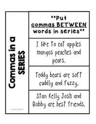 Commas in a series worksheets for second grade