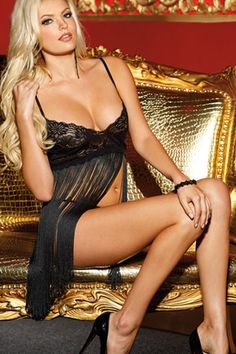 Ritzy Affair Fringe Babydoll with Thong US$15.91