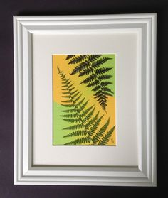Framed Pressed Ferns on original graphic by Lois Lawrence $35.00