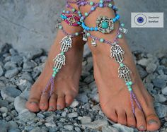 barefoot sandals, beach sandals, foot jewelry ,beach wedding Barefoot sandals, boho shoes gypsy Barefoot Hippie, Foot Jewelry Toe Thong gift