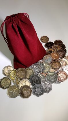 Dwarven Coin Set in a Burgundy Bag (set of 50) | Top Shelf Gamer | Upgrades and Accessories for your favorite Tabletop Games