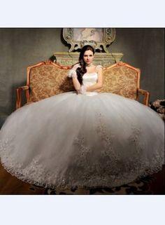 Shoulder A Line Appiques Crystal Train Lace Tulle Wedding Dress      $309.52