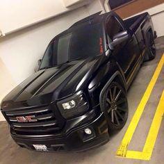 #GMC #Slammed #Stance #Modified #Black On Black #Single-Cab