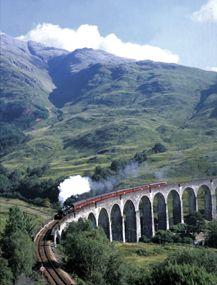 Hogwarts Express crossing the Glenfinnan Viaduct.