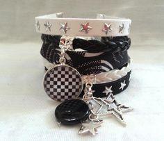 Bracelet manchette très large Graphique Liberty et cabochon noir et blanc Fantaisie femme : Bracelet par libertylily