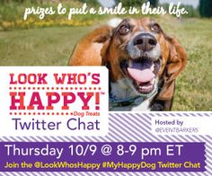 We'll be giving away over $1,000 in prizes at the #MyHappyDog Twitter party on Oct. 9, 8-9pm ET! Details: http://www.dogtipper.com/giveaways-contests/2014/09/announcing-the-myhappydog-twitter-party.html