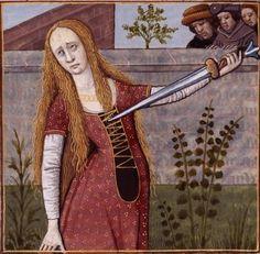 XLVIII-Suicide de Lucrèce, romaine, épouse de Collatin (LUCRETIA, wife of Collatinus) -- Giovanni Boccaccio (1313-1375), Le Livre des cleres et nobles femmes, v. 1488-1496, Cognac (France), traducteur anonyme. -- Illustrations painted by Robinet Testard -- BnF Français 599 fol. 42v