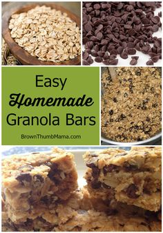 Homemade Granola Bars My kids LOVE these natural, healthy granola bars. And they only have 7 ingredients (Quaker chewy has more than kids LOVE these natural, healthy granola bars. And they only have 7 ingredients (Quaker chewy has more than Real Food Recipes, Snack Recipes, Cooking Recipes, Yummy Food, Granola Bar Recipes, Granola Bar Recipe Easy, Dinner Recipes, Healthy Granola Bars, Healthy Snacks