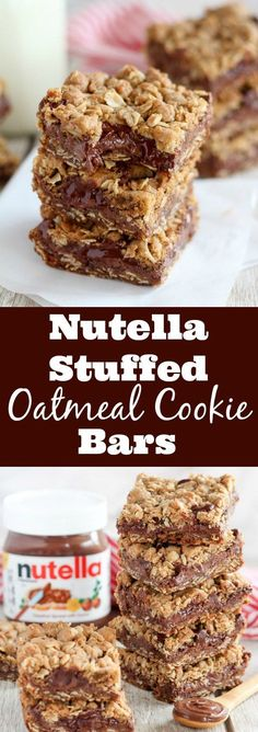 Nutella Stuffed Oatmeal Cookie Bars - Buttery brown sugar oatmeal cookie bars filled with Nutella chocolate hazelnut spread and chocolate chips. desserts nutella Nutella Bars - Oatmeal cookie bars stuffed with Nutella Pancakes Nutella, Nutella Bar, Nutella Stuffed Cookies, Nutella Snacks, Nutella Slice, Nutella Breakfast, Nutella Chocolate Chip Cookies, Nutella Brownies, Low Carb Desserts