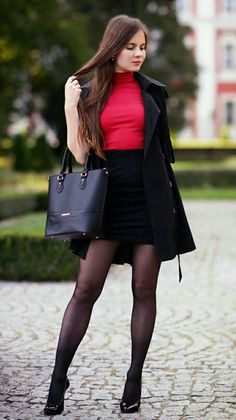 Black trench coat, a red top with golf, pencil skirt and black tights - fas Wool Tights, Sheer Tights, Pantyhose Outfits, Black Pantyhose, Mode Pop, Black Skater Skirts, Skater Dresses, Shift Dresses, Pencil Skirts