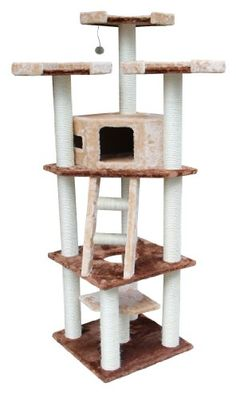 Kitty Mansions Hollywood Cat Tree, Brown/Beige -- Want to know more, click on the sponsored image.