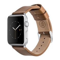 Monowear Brown Leather Band with Matte Silver Adapter For 42Mm Apple Watch Sport - Brown ( 8132144 )