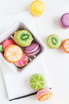 DIY fruit macarons - too pretty to eat! But we'd do it anyway...