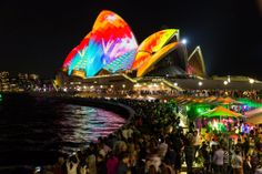 Lighting the sails at the Sydney Opera Housel.  Sydney's Spectacular Technicolor Art Festival in Nine Mesmerizing GIFs  3-D digital light projections and interactive sound sculptures transform famous landmarks around Australia's largest city