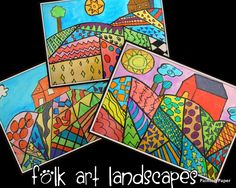 Folk Art Landscapes: 1. Created designs with pencil-need at least 15 sections with various patterns. Trees, suns and barns were all added. 2. Outlined everything with a sharpie. Then used Crayola Construction Paper Crayons to color in just the shapes not the backgrounds. 3. Paint background with liquid watercolor paints.  Lastly, matted them and added our paintedpaper placemats cut into strips for the border.