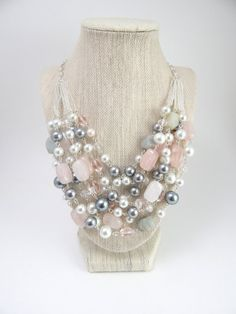 Layered Pearl and Semi-Precious Stone Silver Statement Necklace in Gray and Blush Pink