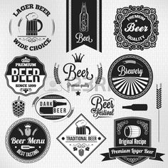 beer set vintage lager labels  Stock Vector