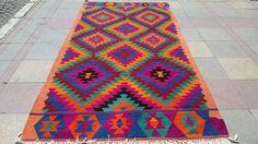 """VINTAGE Turkish Kilim Rug , Area Rug Carpet, Handwoven Kilim Rug,Antique Kilim Rug 59"""" x 120,8"""" (150cm x 307cm)"""