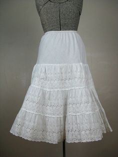 Vintage 1950s Cotton Eyelet Petticoat by Mode by TravelingCarousel