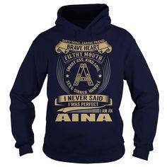 (Tshirt Amazing Sell) AINA Last Name Surname Tshirt Discount Today Hoodies Tees Shirts