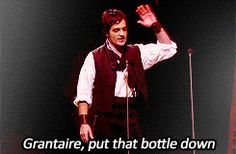 (Ramin Karimloo and Hadley Fraser) The guy playing Grantaire is actually the soldier with the mustache in the movie. And in the backround of this GIF you see Gavroche running in. Ramin Karimloo, Les Miserables, Enjolras Grantaire, Hadley Fraser, Funny Animal Quotes, Phantom Of The Opera, 25th Anniversary, Musical Theatre, My Idol