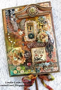 Altered Plaque/Hook. Many found objects and ephemera from the past. cain81art.blogspot.com