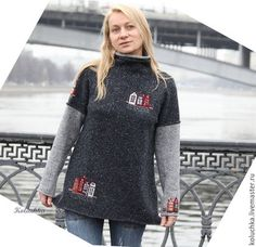 applications on the sweater Hand Embroidery Videos, Pullover, Sweater Jacket, Crochet Clothes, Refashion, Sewing Hacks, Knit Dress, Knit Crochet, Flannel Shirt
