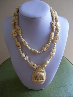 Antique Carved Ox Bone Elephant Bead Necklace NO COUPON by MICSJWL, $45.00