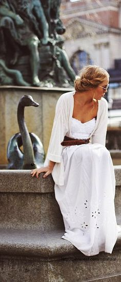 Pretty girl in a Pretty White! ~ lovely outfit::White maxi with caramel belt and white cardi. Gorgeous.