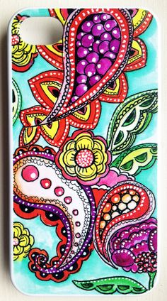watercolor doodles case- iPhone 4s