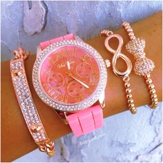 Peach & Rose Gold Peachy Rose Stack Watch Set