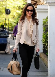 Pippa Middleton wore an Alice by Temperley jacket, Zara blouse, black jeggings, Milli Millu bag and Knomo laptop bag