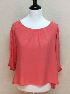Anthropologie Maeve Xs Braxton Flutter Button Sleeve Hi Lo Top Coral | eBay