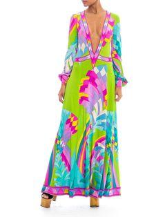 1960s Leonard Paris Deep V-Neck Geometric Print Maxi Dress