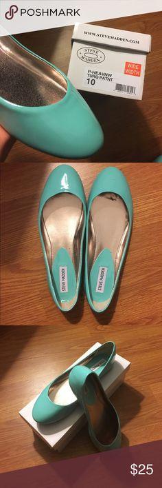 Steve Madden P-Heaven Flat Steve Madden P-Heaven Flat - Beautiful turquoise color.  Only worn twice. Very slight wear. 10 wide width Steve Madden Shoes Flats & Loafers
