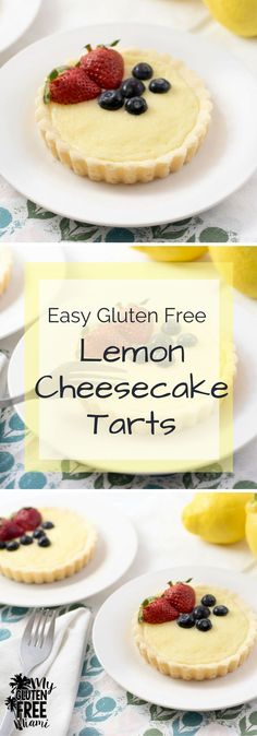 Luscious and creamy, gluten free lemon cheesecake tarts are a snap to make and sinfully good. via @GLUTENFREEMIAMI
