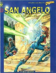 San Angelo: City of Heroes edition) - San Angelo is truly a City of Heroes. Some of them soar through the sky or shoot fireballs from their fingertips. City Of Heroes, Classic Rpg, Hero Games, San Angelo, Old School, Fantasy Art, Champion, Horror, Sci Fi