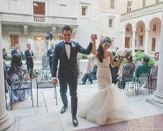 Jean and Nick, the best US petite fashion blogger's vintage-inspired wedding at the Boston Public Library