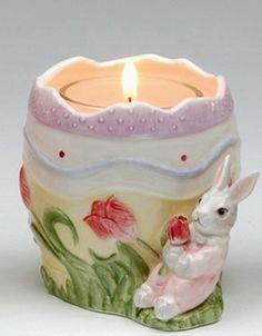 Springtime Easter Egg Style Votive Holder with Rabbit, by Appletree Design, 30225 $10.00