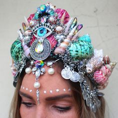 Rainbow queen festival vibes crown by chelseasflowercrowns on Etsy