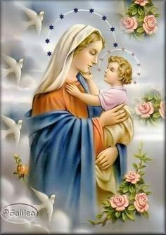 """The Holy Mary with her Holy Child """"Jesus"""", the Christ and Son Of God Jesus Mother, Blessed Mother Mary, Blessed Virgin Mary, Baby Jesus, Catholic Pictures, Pictures Of Jesus Christ, Religious Images, Religious Art, Miséricorde Divine"""