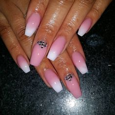 Pink and White Ombre with Bling Nailz Tammy Taylor
