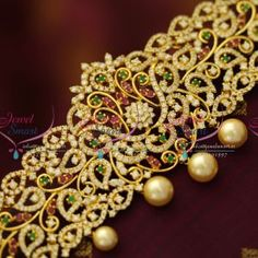 ruby-emerald-cz-floral-leaf-design-vaddanam-oddiyanam-bridal-dulhan-jewellery-gold-plated-buy-online