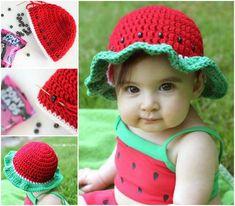 Watermelon-sun-hat crochet free pattern #diy #crafts #crochet